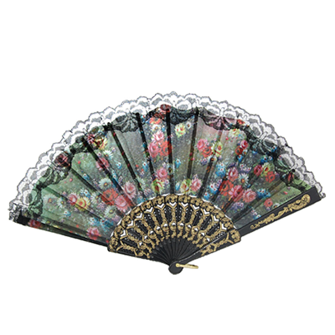 Lace Trim Accent Floral Print Plastic Handle Folding Hand Fan
