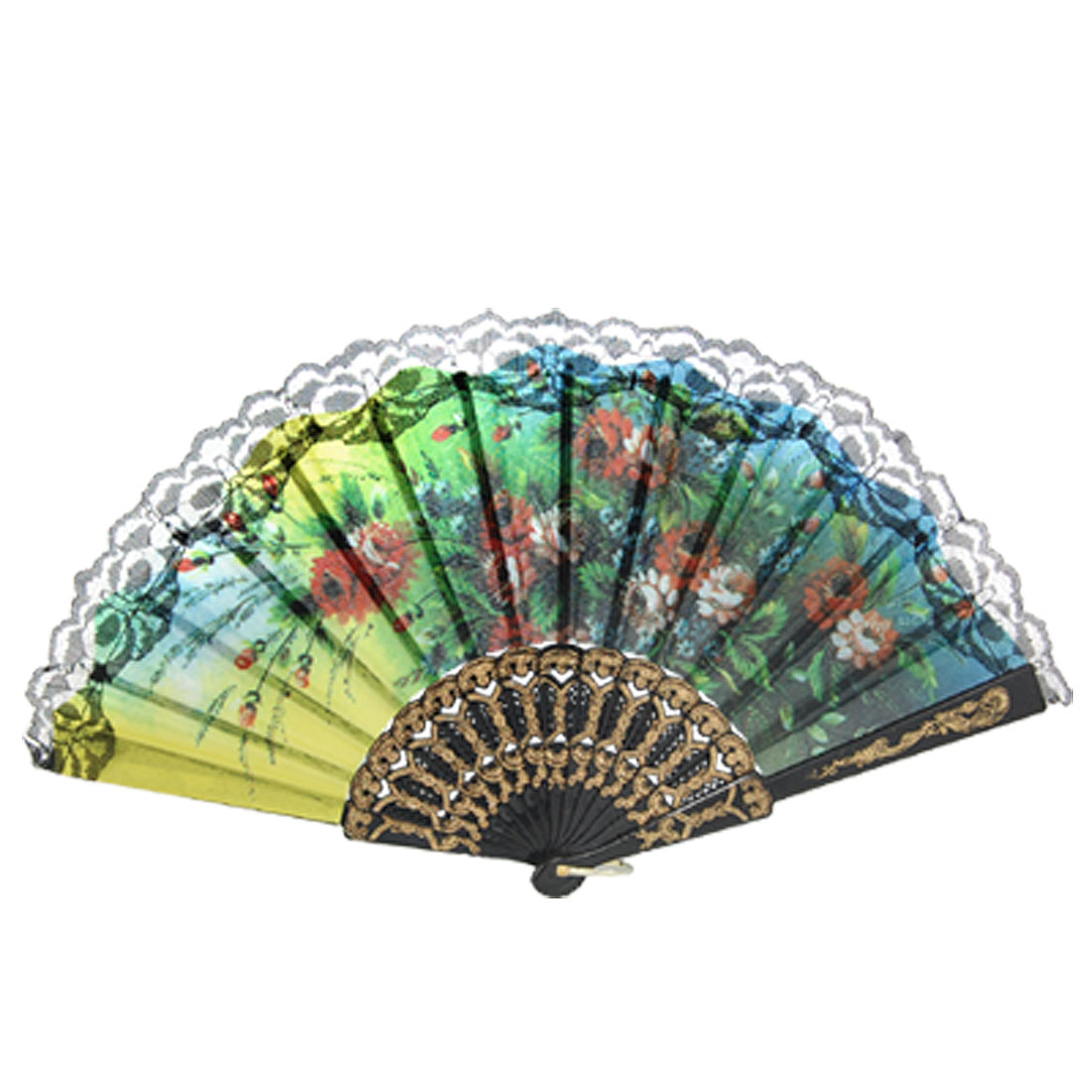 Ladies Colorful Flower Leaf Print Black Lace Rim Accent Handheld Folding Fan