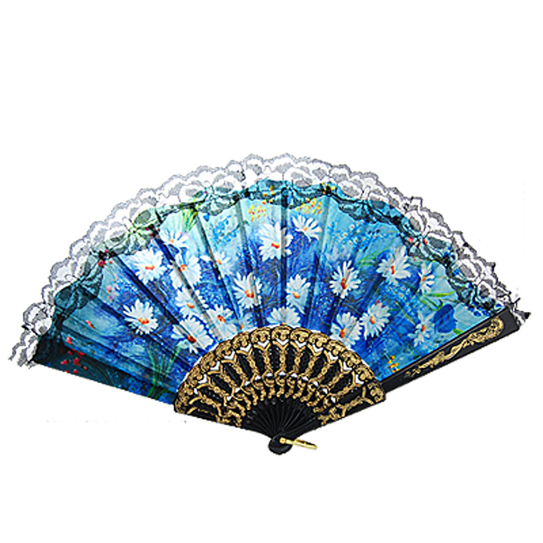 Plastic Frame Lacing Rim Flower Print Detail Nylon Fabric Folding Fan