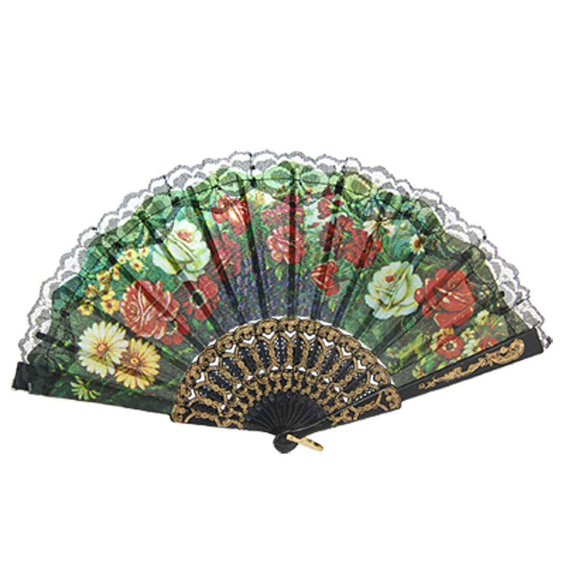 Plastic Ribs Cut Out Floral Print Summer Folding Hand Fan