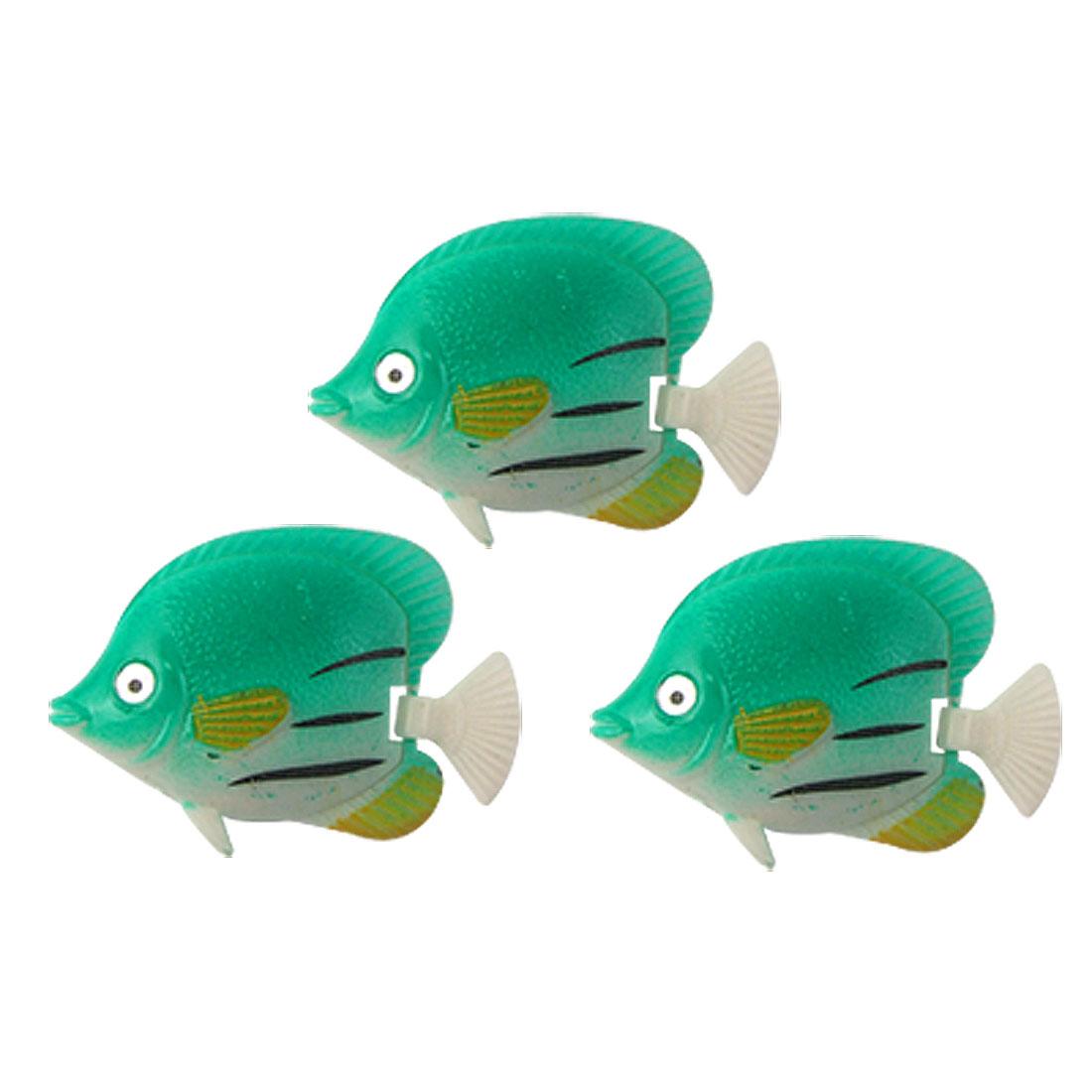 Aquarium Tank Green Plastic Simulated Tropical Fish Decor 3 Pcs