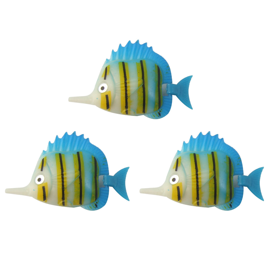 Aquarium Decor Wiggled Tail Four Color Plastic Faux Fish 3 Pcs