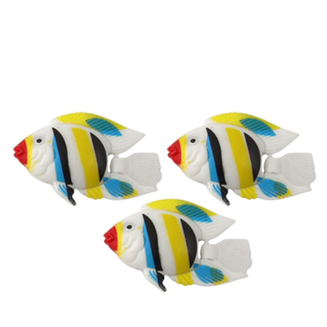 Aquarium Tank Decor Multicolor Plastic Manmade Tropical Fish 3 Pcs