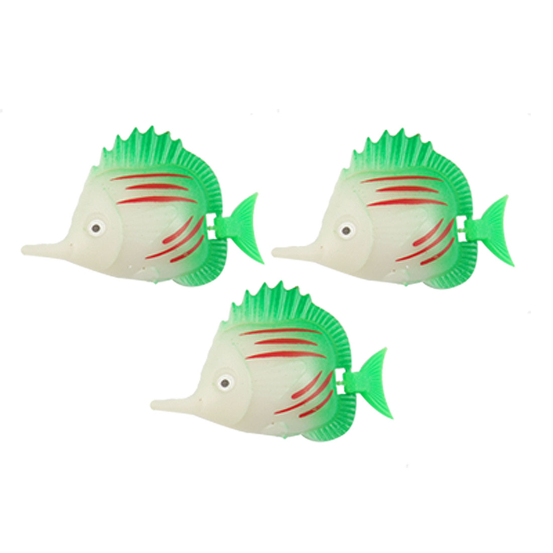 Aquarium Wiggled Tail Tri Color Striped Plastic Faux Fish 3 Pcs