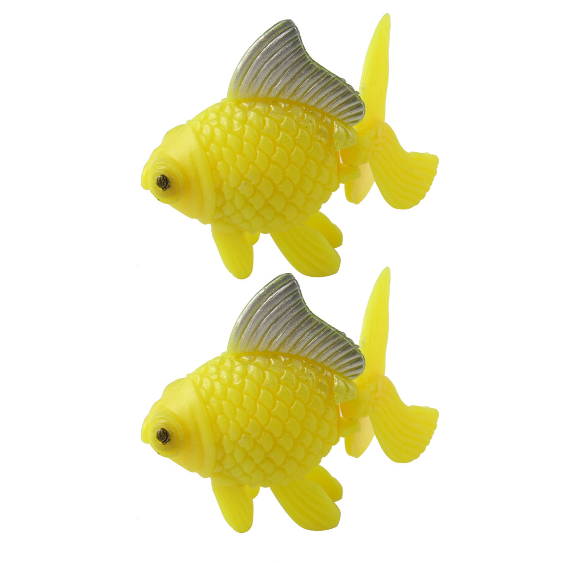 Wiggled Tail Yellow Plastic Faux Goldfish 2 Pcs for Aquarium