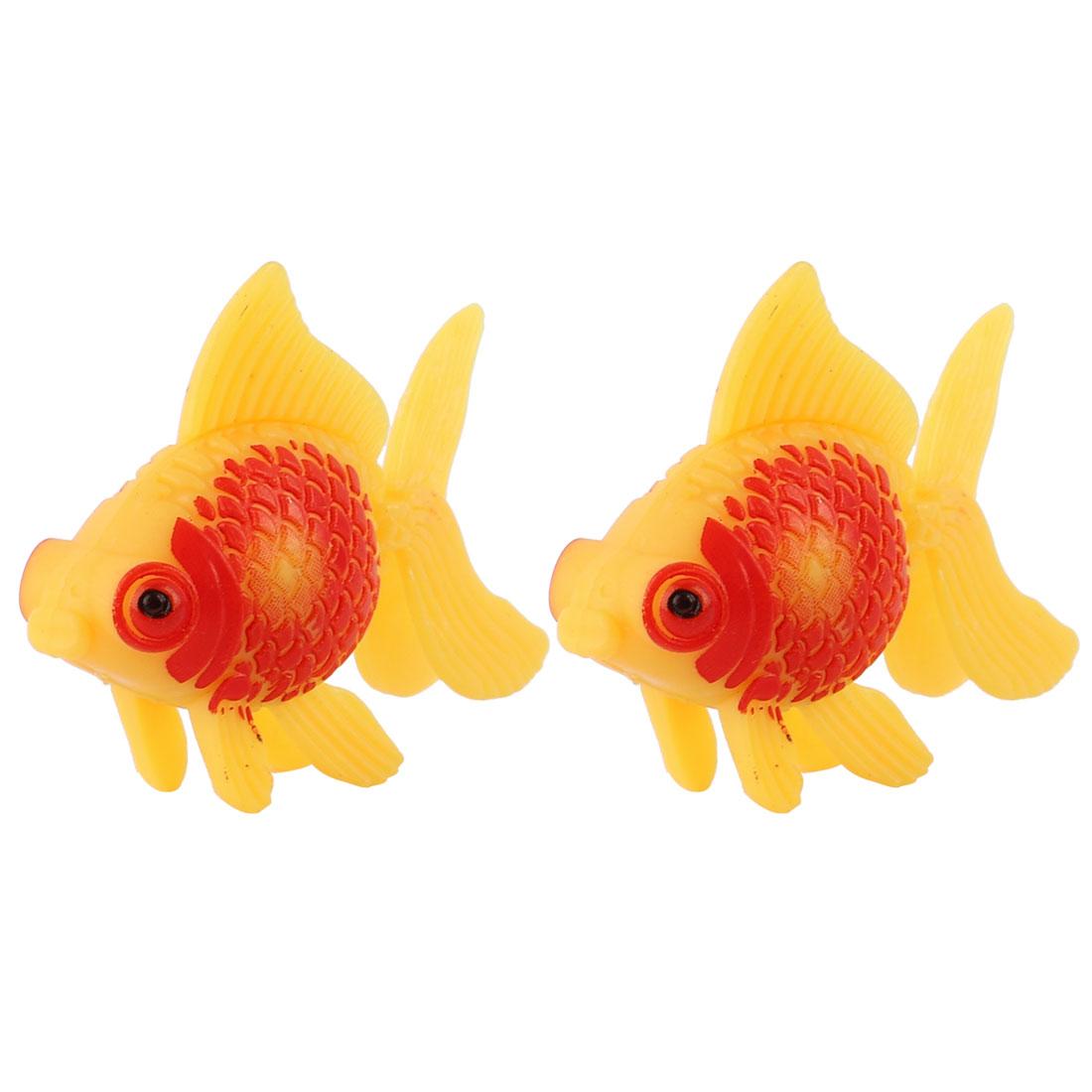 Aquarium Fish Tank Plastic Decor Faux Fantail Goldfish Orange Red 2pcs