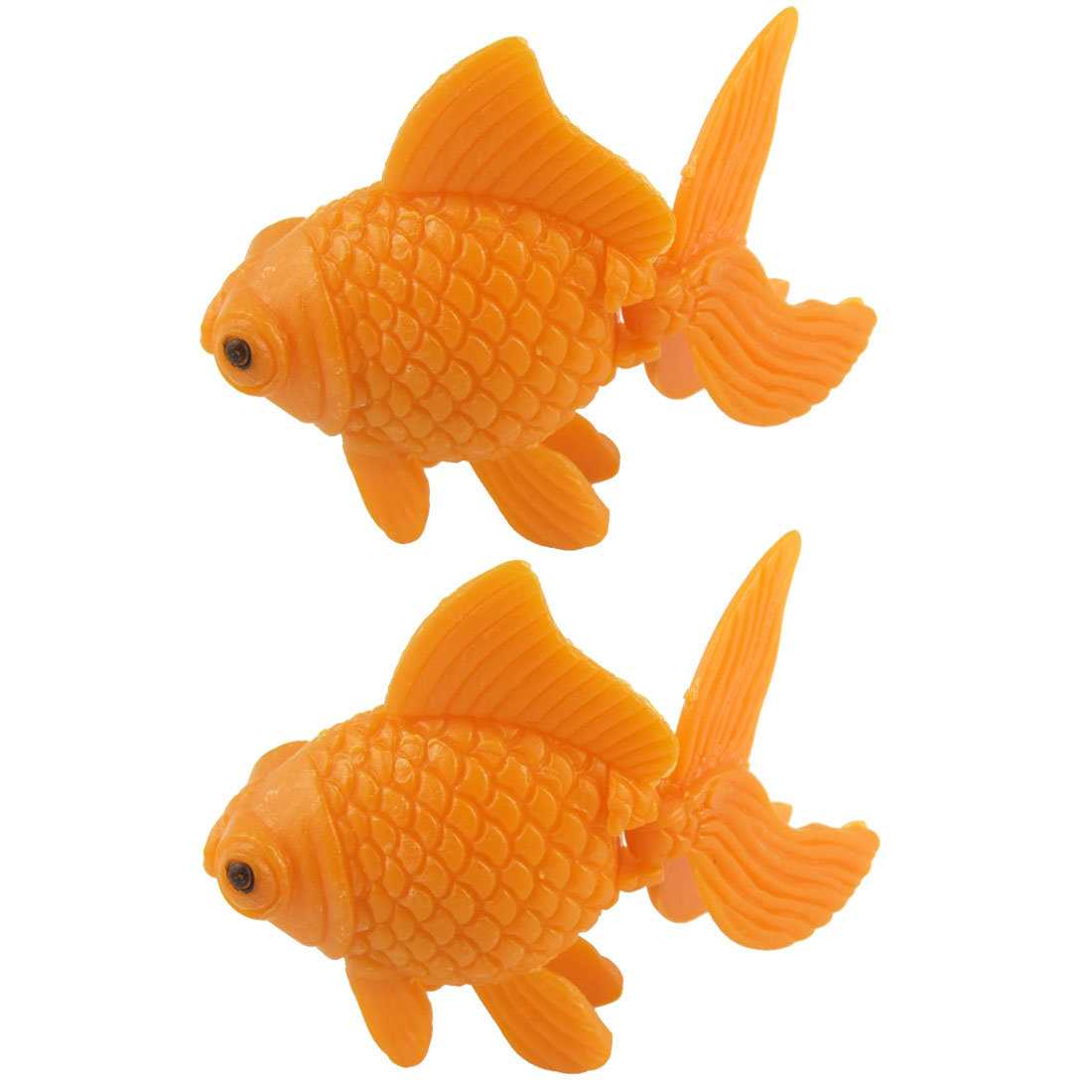 Aquarium Plastic Fish Tank Floating Goldfish Ornament Decor Orange 2 Pcs