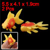 Aquarium Fish Tank Plastic Decor Faux Fantail Goldfish Orange Red 2pcs