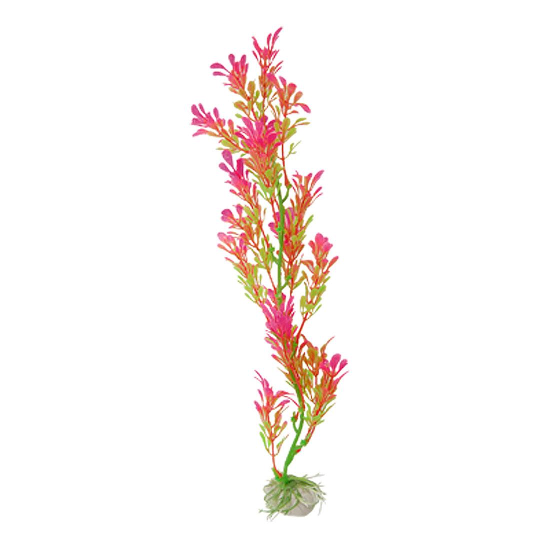 Pink Green Plastic Underwater Grass Ornament for Aquarium