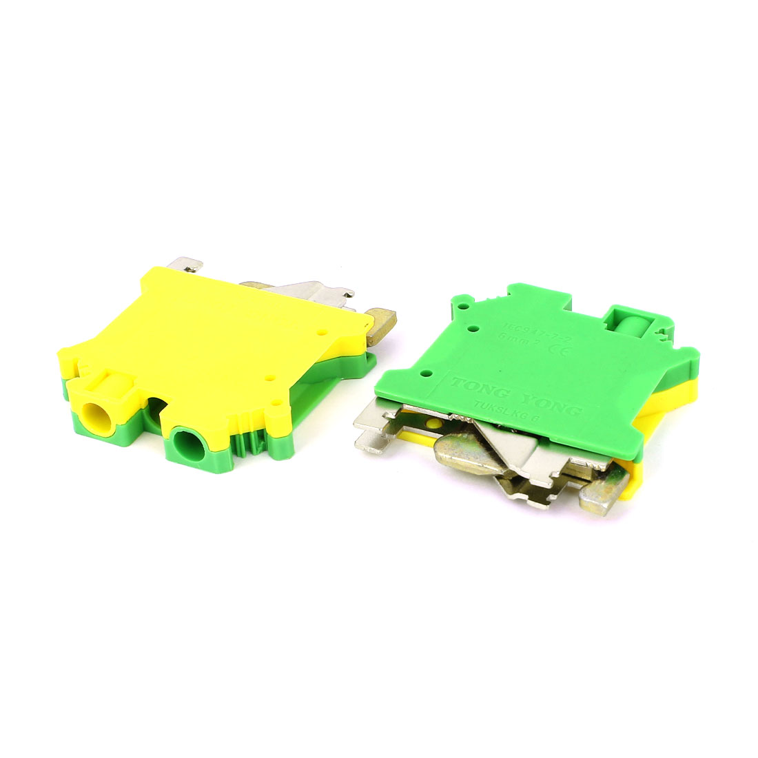 2 Pcs TUKSLKG-6 800V 41A Side Entry Type Screw Termial Block Green Yellow