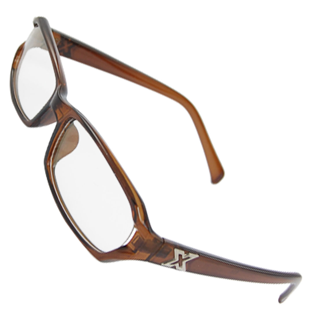 Men Metal Cross Decor Arms Brown Plastic Frame Multi Coated Lens Spectacles