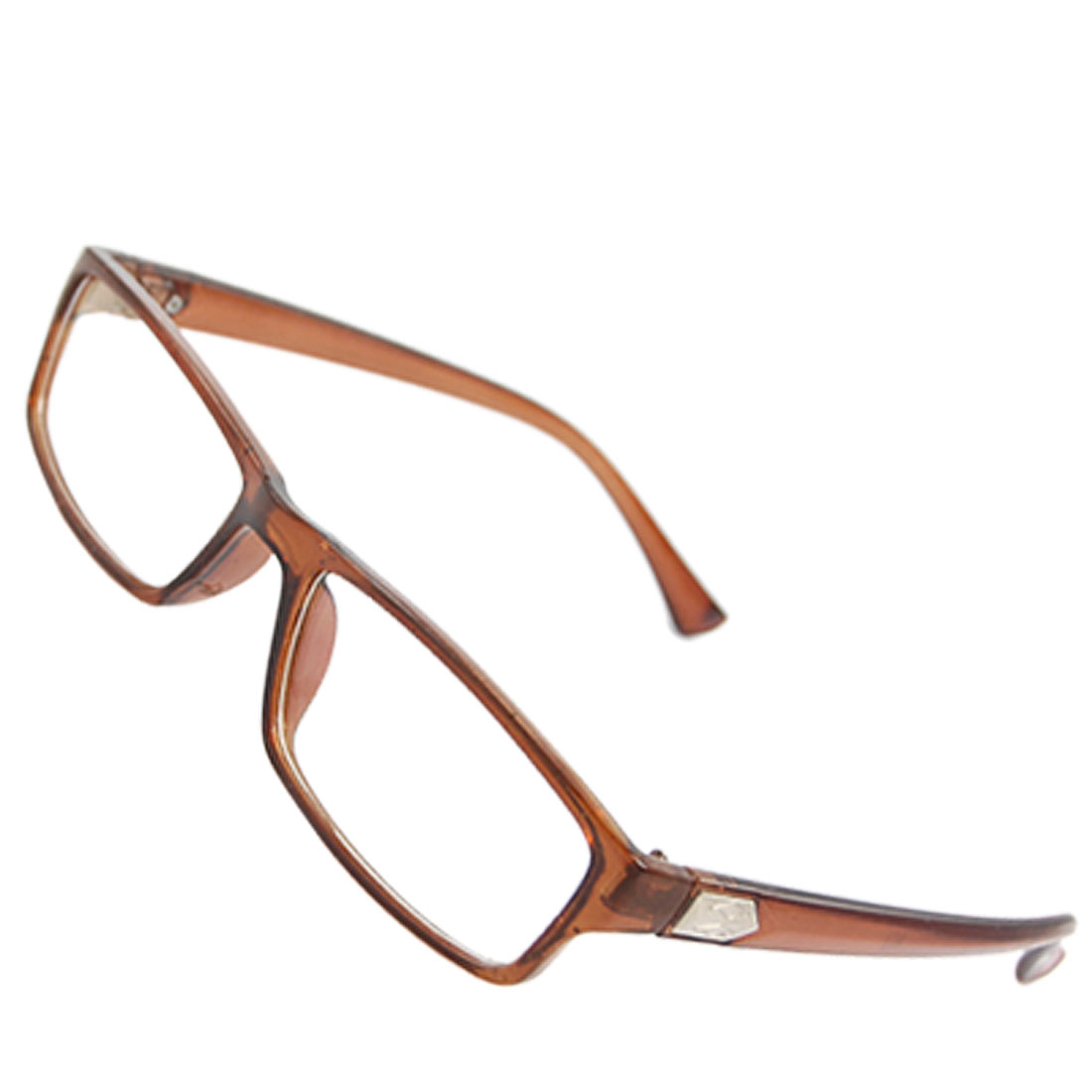 Lady Polygon Accent Brown Plastic Arms Multi Coated Lens Plain Glasses