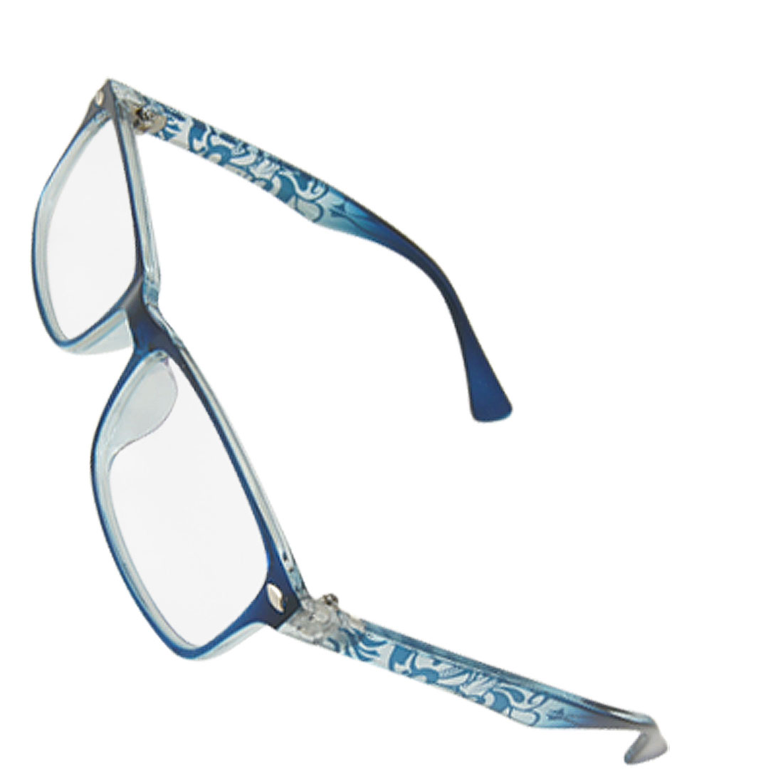 Ladies Steel Blue Plastic Full Rim Multi Coated Plain Glasses