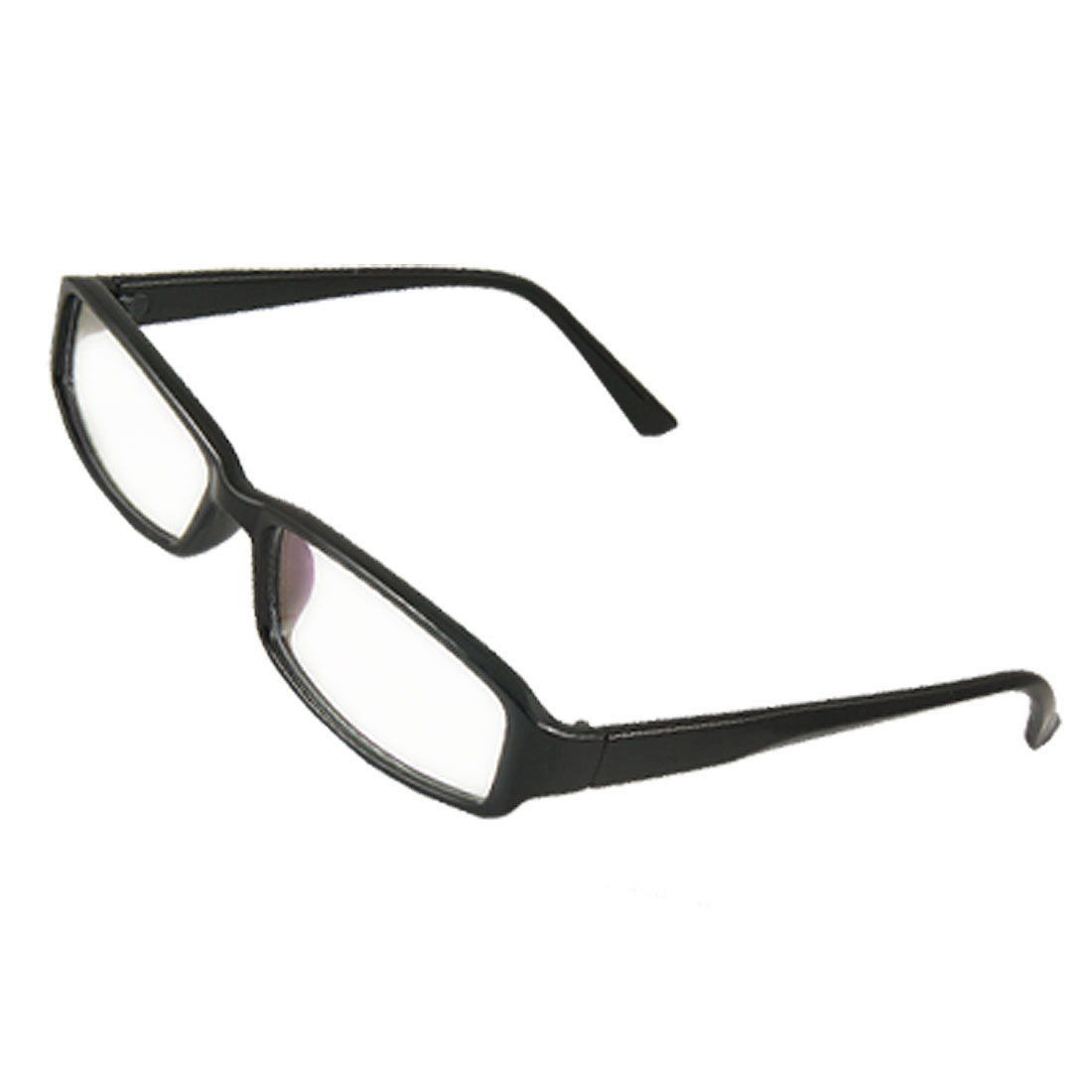 Man Woman Shiny Plastic Frame Multi Coated Clear Lens Glasses