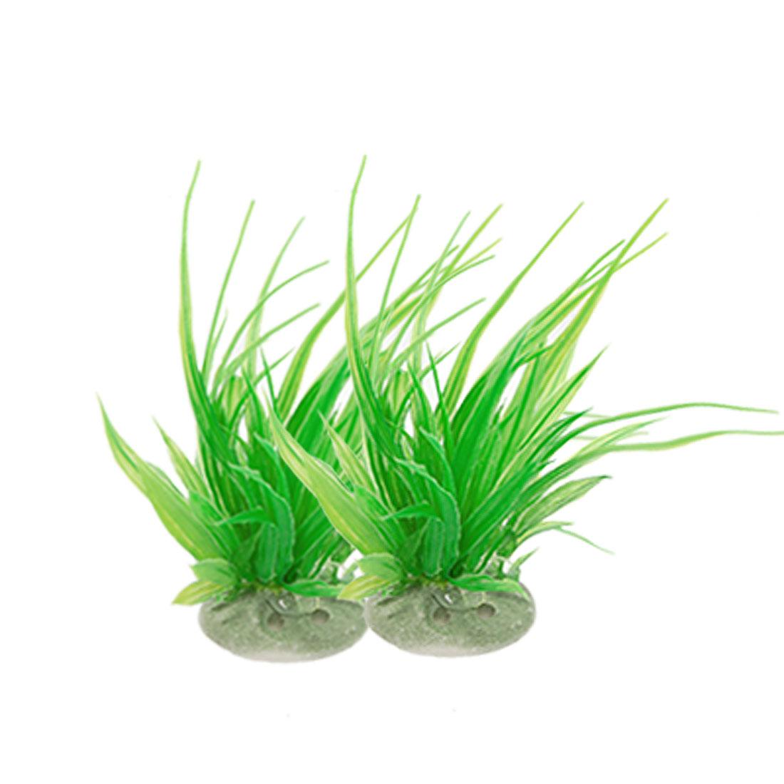 2 Pcs Emulational Green Plastic Plants Decor for Fish Tank Aquarium