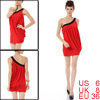 Lady Pleated Single Shoulder One-piece Dress Red Black Size S