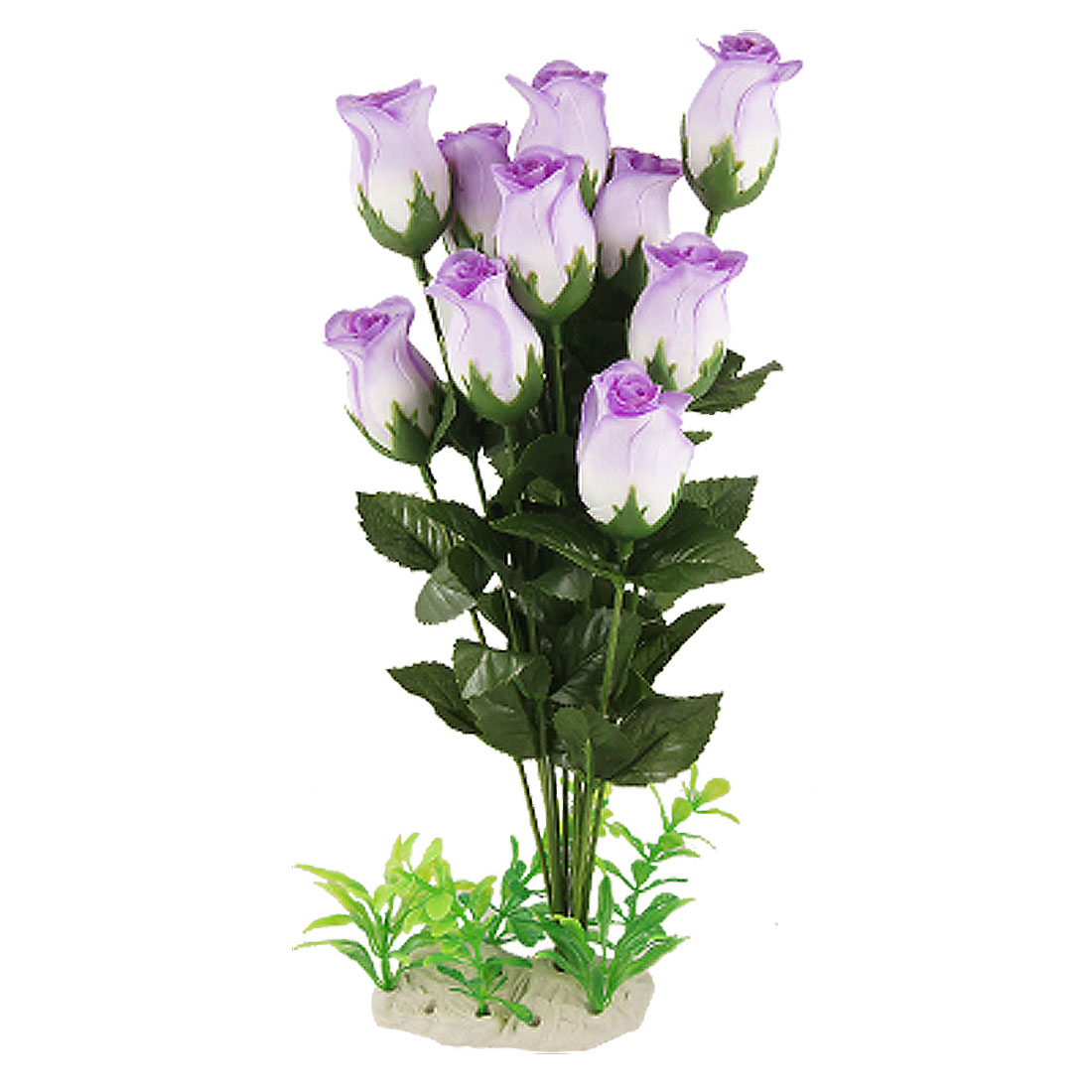 Aquarium Decorative 12 Purple Fabric Flower Green Leaf Plastic Plants