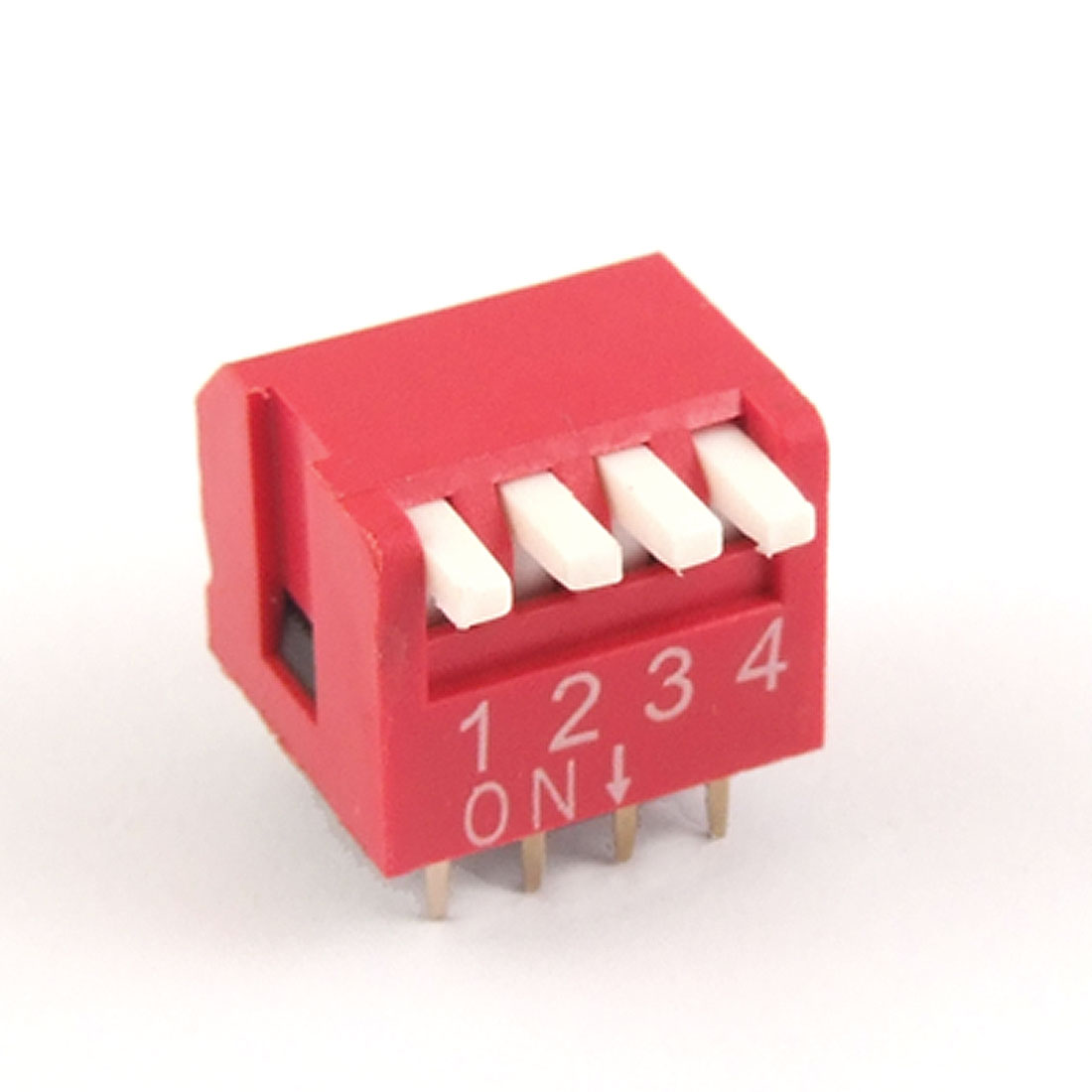 10 Pcs 2.54mm Pitch 4 Position Piano Type DIP Switches Red