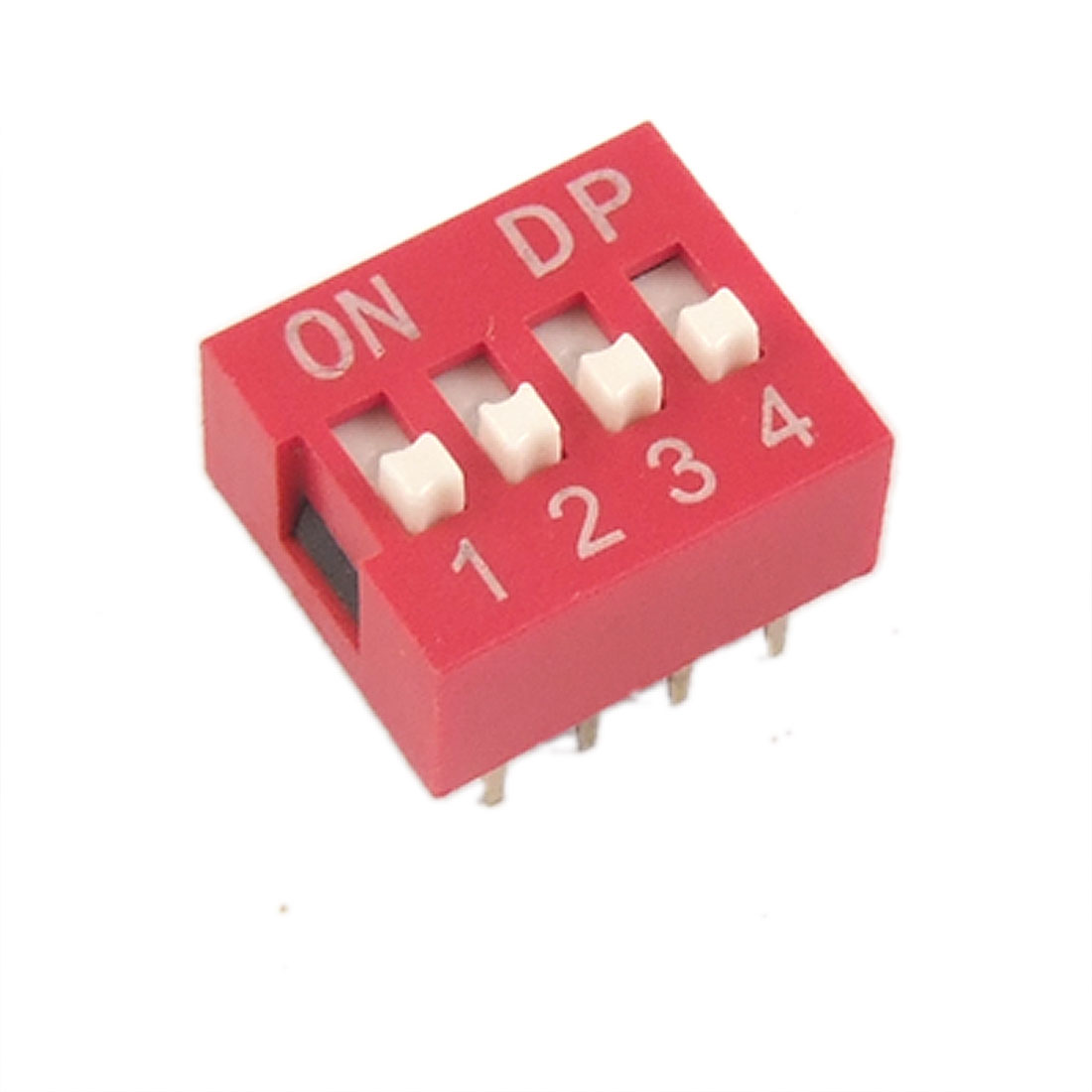 10 Pcs 2.54mm Pitch 4 Position Slide Style DIP Switches Red