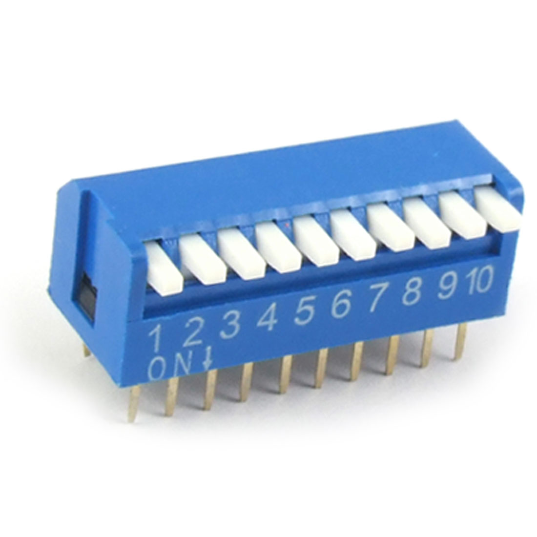 2.54mm Pitch 10 Position Piano Type DIP Switch Blue 10Pcs