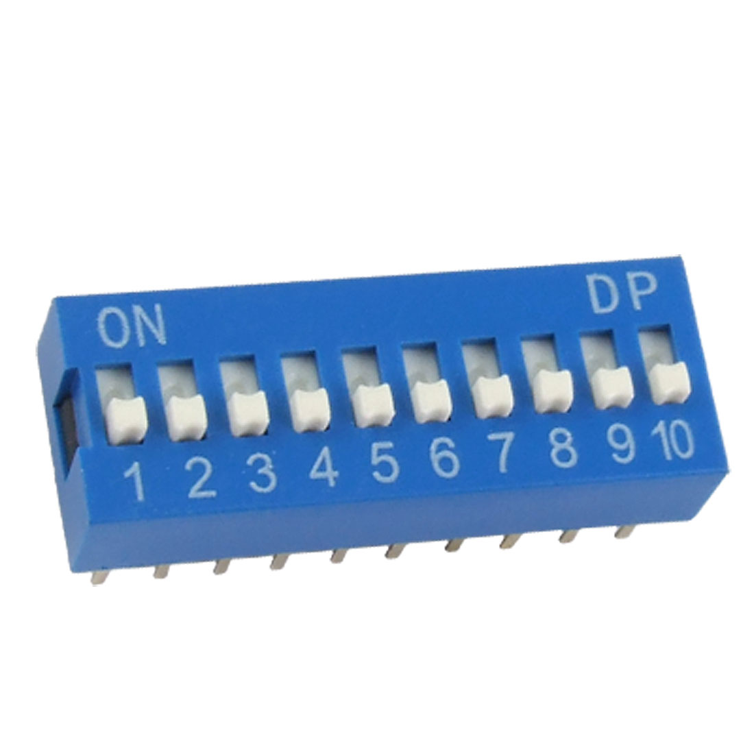 2.54mm Pitch 10 Position Slide Style DIP Switches Blue 10Pcs