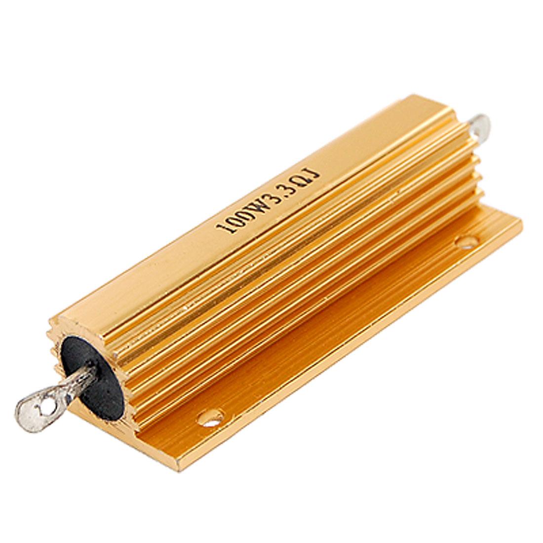 100Watt 5% 3.3 Ohm Resistance Gold Tone Aluminum Case Resistor