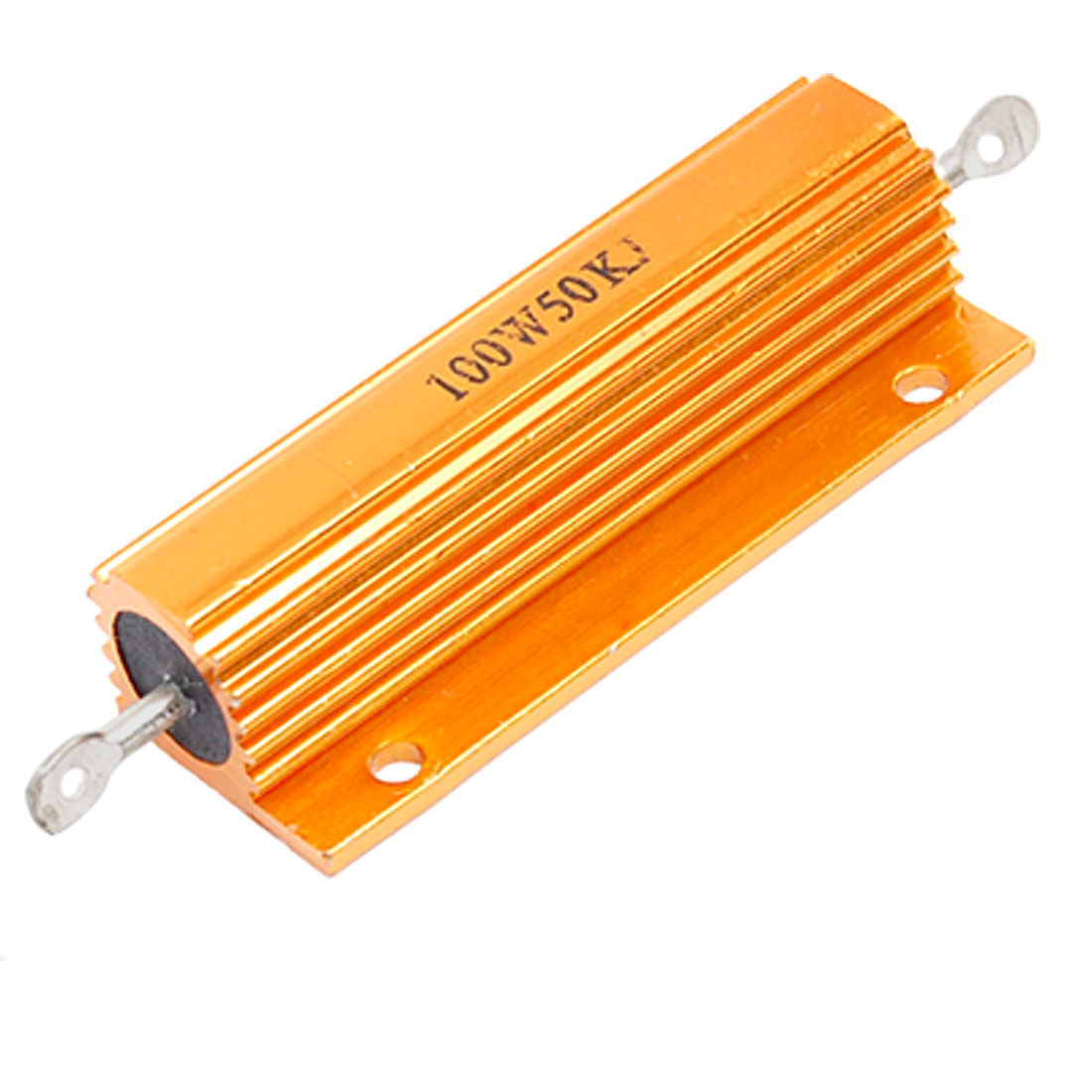 100W 5% 50K Ohm Resistance Gold Tone Aluminum Case Resistor