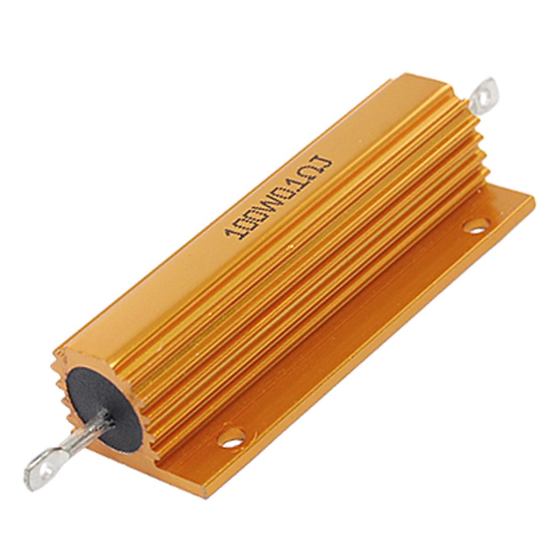 Gold Tone 100W 0.1 Ohm 5% Aluminum Case Wire Wound Resistor