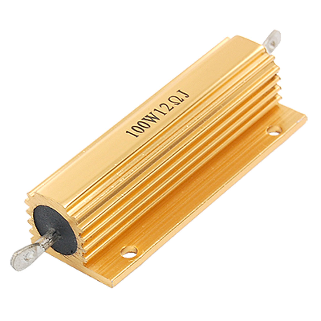 Gold Tone Aluminum Housed Casing Resistor 12 Ohm 5% 100W