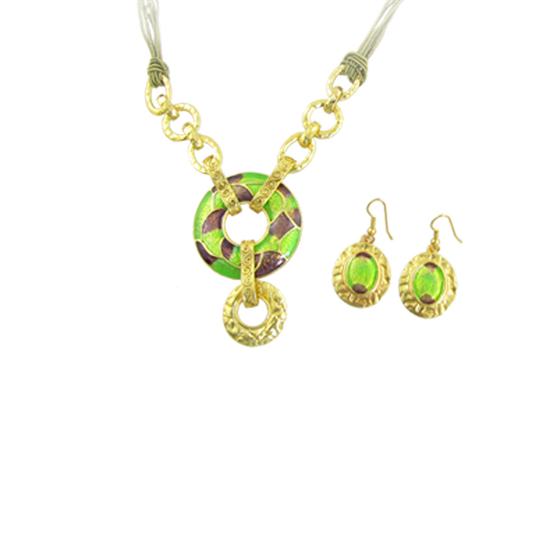 Assorted Color Circle Pendant Necklace Earrings Set for Lady