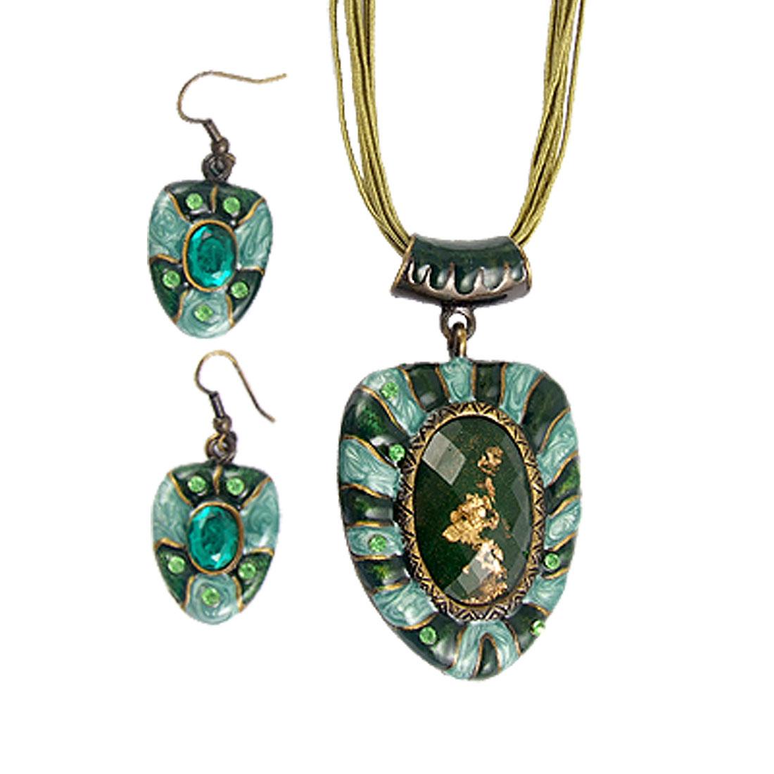 Lady Rhinestone Inlaid Cyan Necklace w Hook Earrings