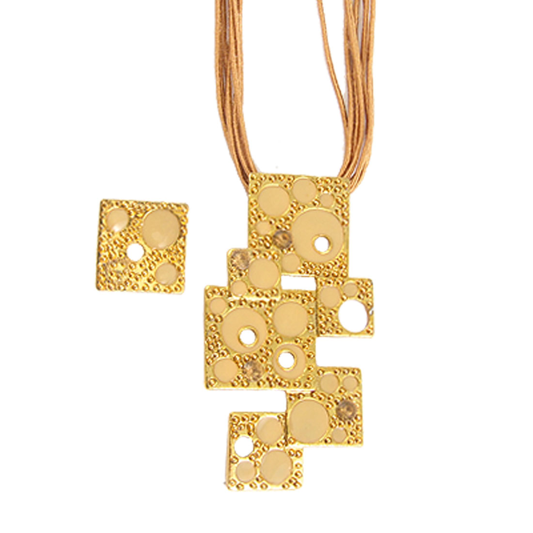 Square Linked Pendant Brown Multi Strands Necklace w Earrings