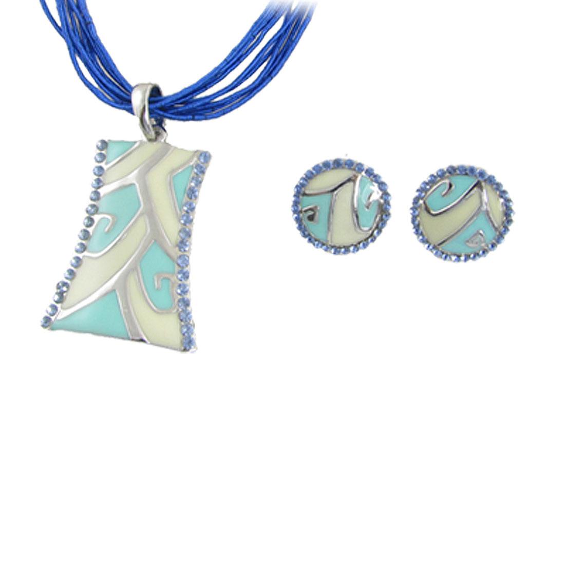 Silver Tone Lobster Clasp Multi Strings Necklace w Stud Earrings