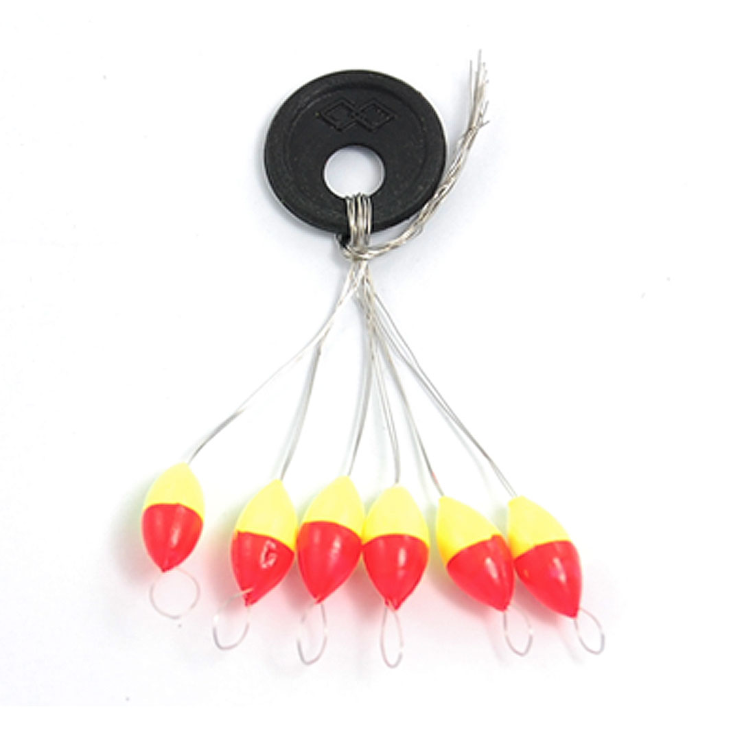 3 Pcs Oval Shaped 6 in 1 Red Yellow Plastic Fishing Floater Size 2