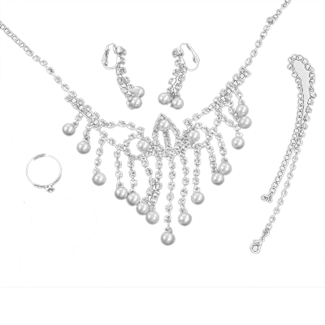 Rhinestone Inlaid Faux Pearl Silver Tone Necklace Jewelry Set
