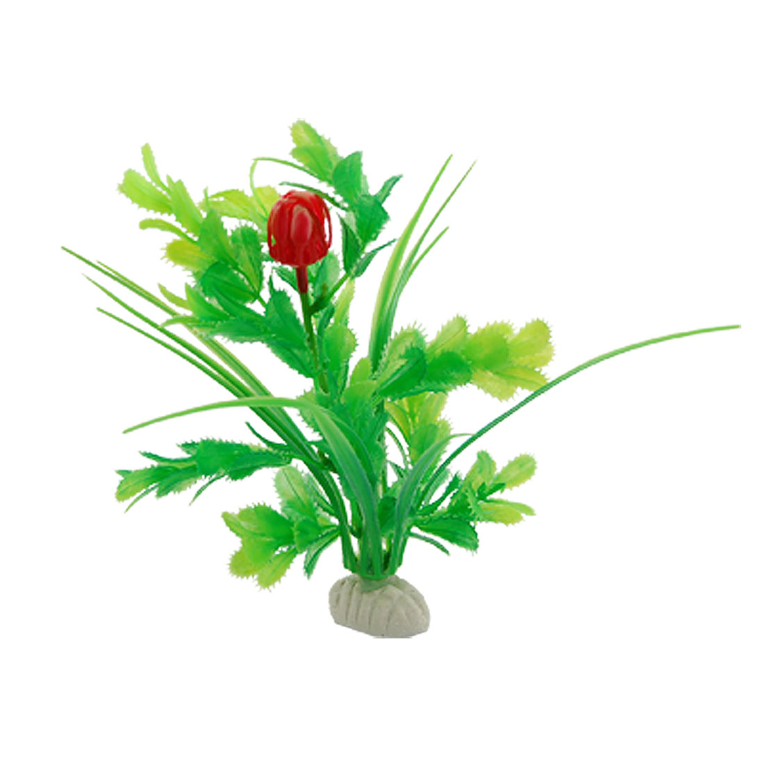 Aquarium Green Serrate Leaf Red Flower Artificial Plants 3 Pcs