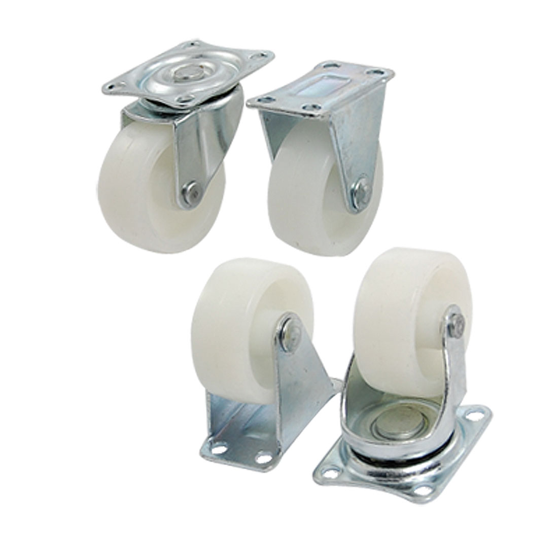 "1.5"" White Wheel Silver Tone Metal Top Plate Fixed Swivel Caster Set 4 Pcs"