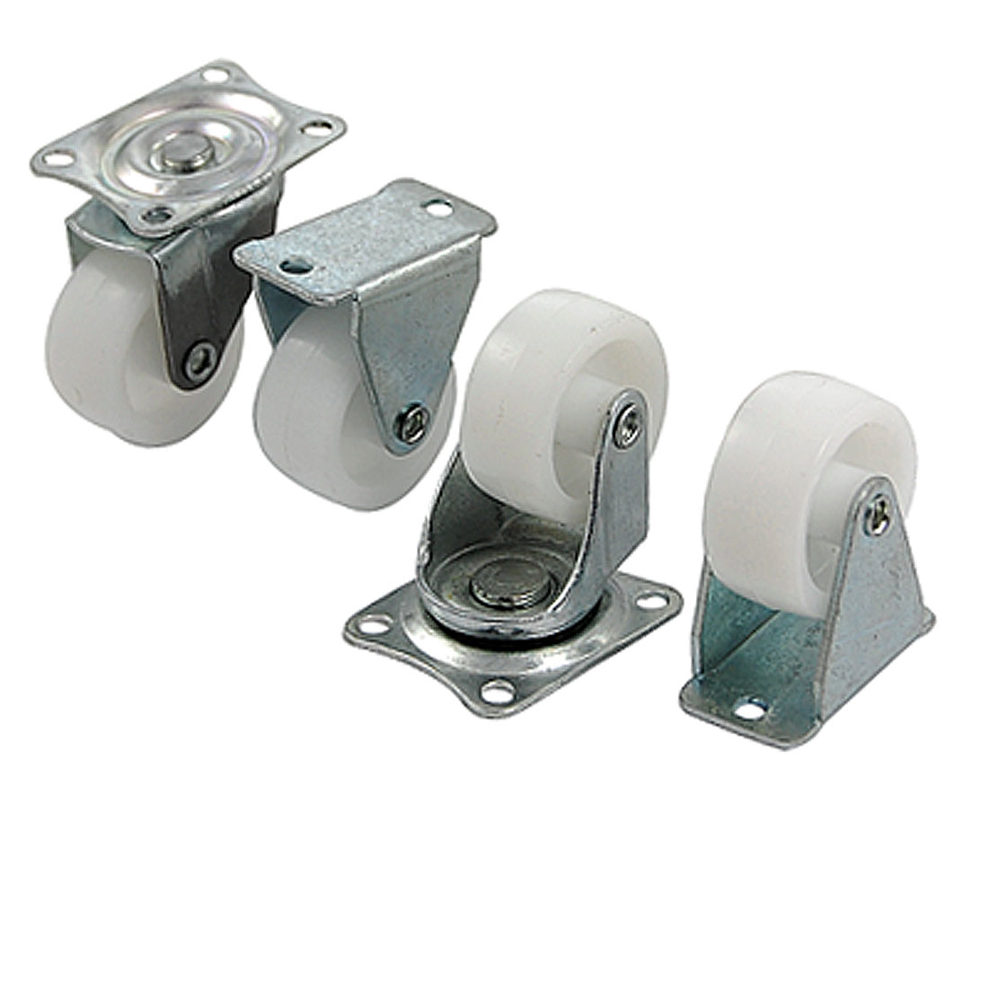 "4 Pieces 1.2"" Rectangle Top Plate Plastic Tire Casters"