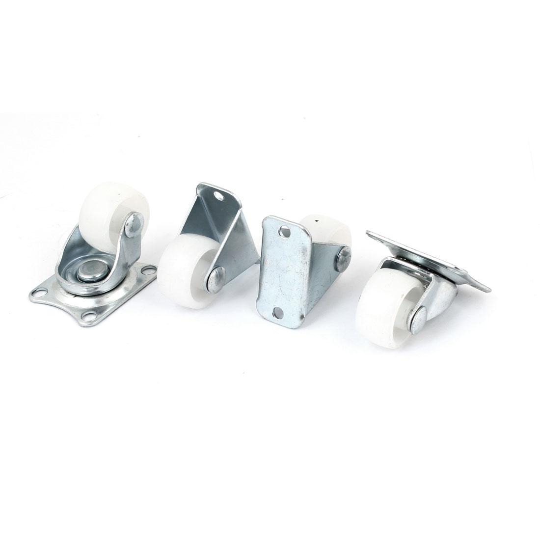 """4 Pcs 1"""" White Plastic Wheel Fixed Swivel Caster Set"""