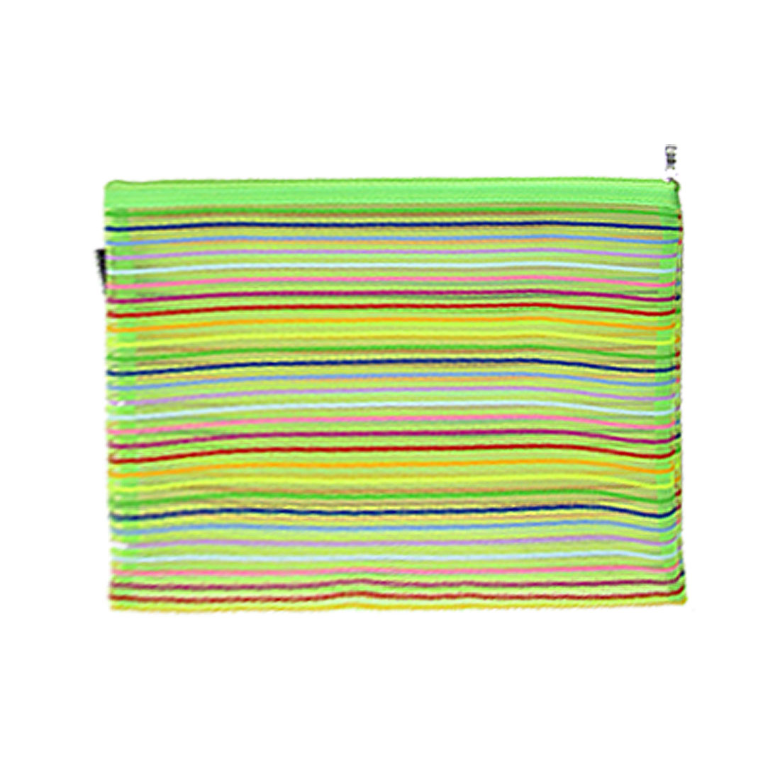 Colorful Stripe Sheer Nylon Zipper File Bag Holder