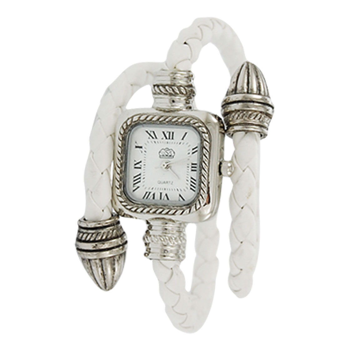 Braided Band Rectangle Dial Quartz Watch White for Lady