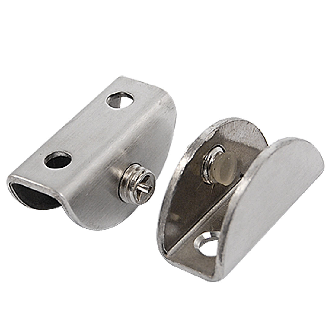 Pair 12mm Gap Metal Back Flat Balustrading Glass Clamps Clips