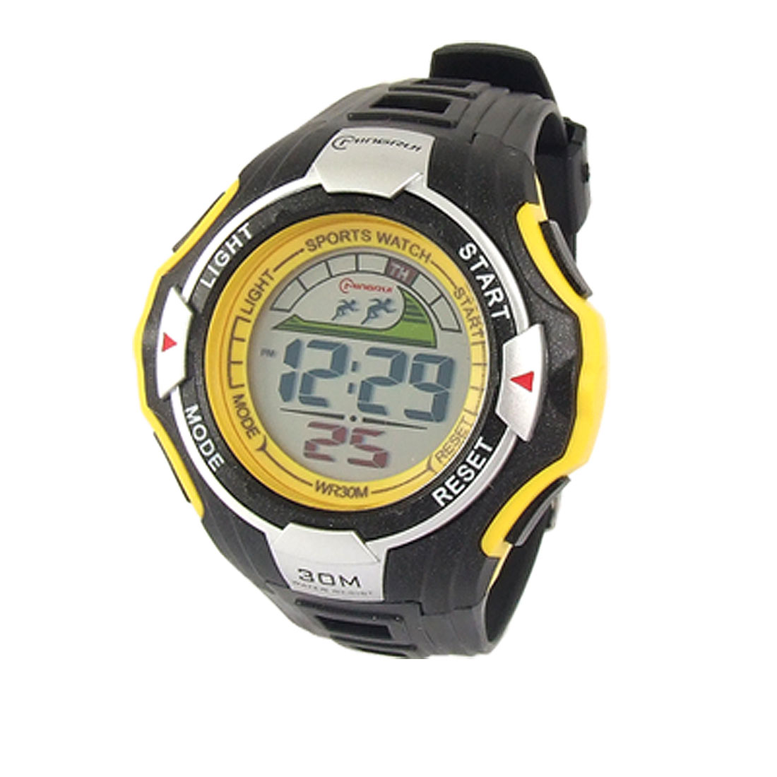Men Yellow Black Plastic Band Coldlight LCD Sports Watch