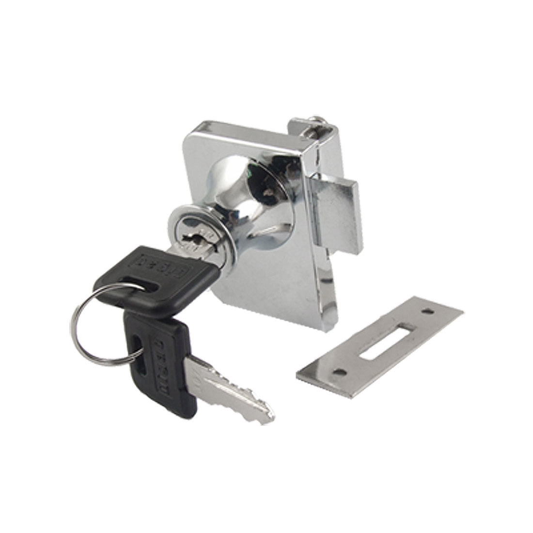 Replacement Silver Tone Single Glass Door Lock w Keys