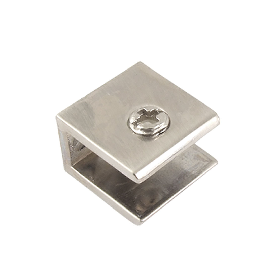 Adjustable Screw Squared 8-12mm Thick Glass Cabinet Clip Silver Tone