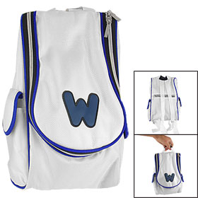 White Blue Fabric Double Zipper Carrying Backpack for Nintendo Wii