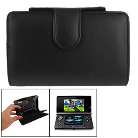 Magnet Flip Black Faux Leather Pouch Cover for Nintendo 3DS