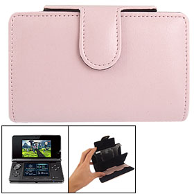 Flannel Lined Pink Faux Leather Pouch Case for Nintendo 3DS