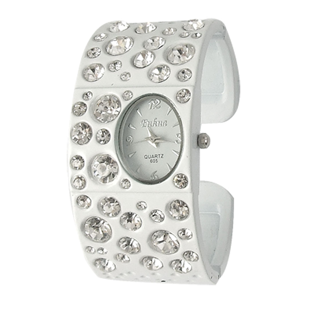 Woman Rhinestone Accent White Alloy Cuff Bracelet Wristwatch