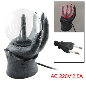 AC 220V Hand Type Base Red Light Lightning Magic Plasma Ball Sphere Lamp